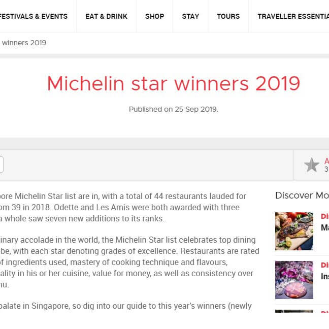 Michelin star winners 2019