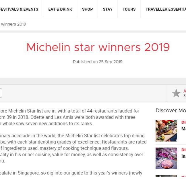 Michelin star winners 2019